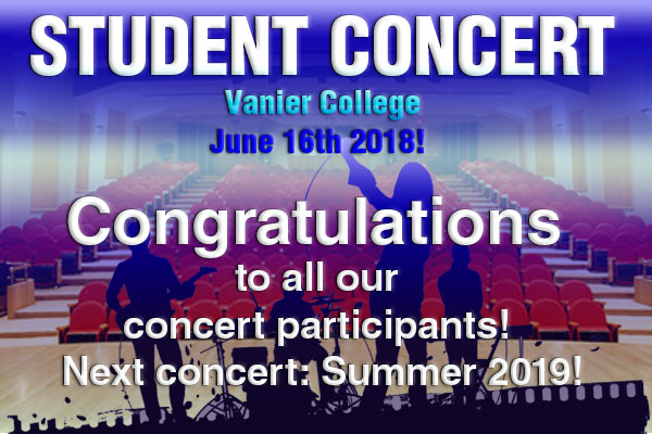 Student Concert June 16th 2018!